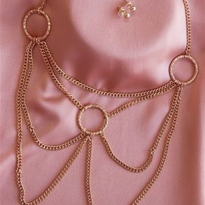 GOLD CHAINED CIRCLES NECKLACE & EARRINGS SET